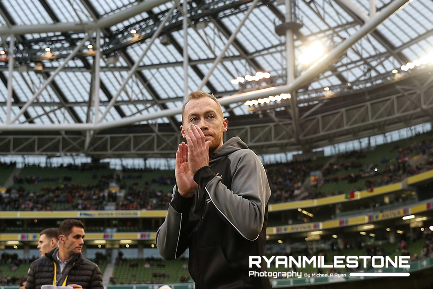 Chris Shields of Dundalk enters the field ahead of the Irish Daily Mail FAI Cup Final between Dundalk and Cork City, on Sunday 4th November 2018, at the Aviva Stadium, Dublin. Mandatory Credit: Michael P Ryan.