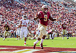 Florida State running back Jacques Patrick reacts to a deflected pass touchdown vs Northern Illinois University on September 22, 2018 in Tallahassee, Florida.  The Seminoles defeated the Huskies 37-19.