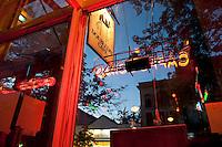 restaurant window in Cooperstown, New York.