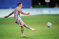 LAKE BUENA VISTA, FL - JULY 16: Marc Rzatkowski #90 of the New York Red Bulls kicks the ball during a game between New York Red Bulls and Columbus Crew at Wide World of Sports on July 16, 2020 in Lake Buena Vista, Florida.