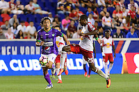 Harrison, NJ - Wednesday Aug. 03, 2016: Agustin Herrera, Chris Duvall during a CONCACAF Champions League match between the New York Red Bulls and Antigua at Red Bull Arena.