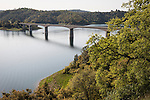 Highway 49 Archie Stevenot Bridge across Melones Reservoir at full pool, springtime in California's Mother Lode Gold Country