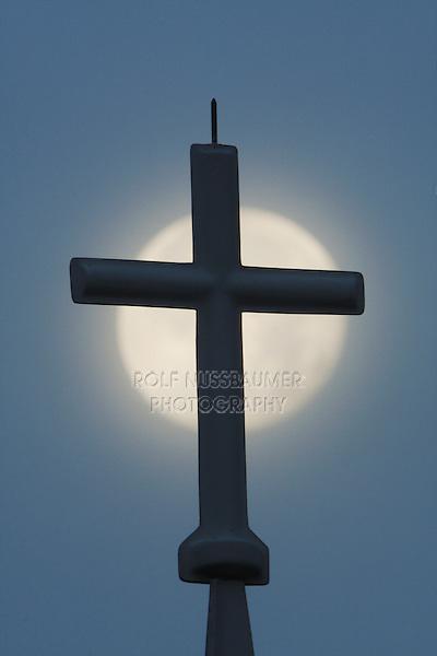 Cross and Full Moon, North Carolina, USA