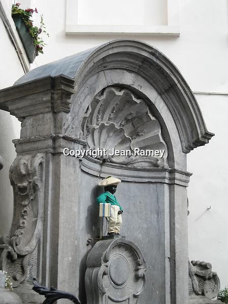Brussels' famous Manneken Pis statue