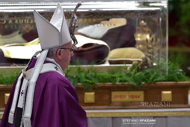 Pope Francis l;Leopoldo Mandić;eads the mass for Ash Wednesday, opening Lent, the forty-day period of abstinence and deprivation for the Christians, before the Holy Week and Easter on February,10, 2016