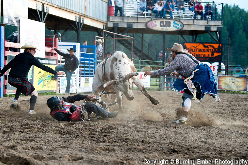 Blazie Geneau on Red Eye Rodeo DC-R at the Darby Rodeo Association Elite Bull Connection event July 5th 2019.  Photo by Josh Homer/Burning Ember Photography.  Photo credit must be given on all uses.