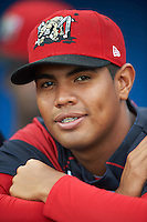 Batavia Muckdogs pitcher Jose Diaz (41) before a game against the West Virginia Black Bears on August 20, 2016 at Dwyer Stadium in Batavia, New York.  Batavia defeated West Virginia 7-2. (Mike Janes/Four Seam Images)