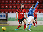St Johnstone v Rangers...29.09.15   SPFL Development League  McDiarmid Park, Perth<br /> Greg Hurst sees his shot saved by the keeper<br /> Picture by Graeme Hart.<br /> Copyright Perthshire Picture Agency<br /> Tel: 01738 623350  Mobile: 07990 594431
