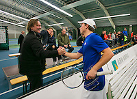 18-01-14,Netherlands, Rotterdam,  TC Victoria, Wildcard Tournament,    Alban Meuffels (NED) is congratulated by his coach Carl Du Mee.<br />