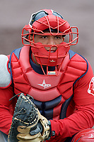 Salem Red Sox catcher Jhon Nunez (2) during practice before the first game of a doubleheader against the Potomac Nationals on May 13, 2017 at G. Richard Pfitzner Stadium in Woodbridge, Virginia.  Potomac defeated Salem 6-0.  (Mike Janes/Four Seam Images)