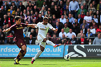 Pictured: (R) Wayne Routledge.<br /> Saturday 04 May 2013<br /> Re: Barclay's Premier League, Swansea City FC v Manchester City at the Liberty Stadium, south Wales.