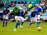 26th September 2021;  Easter Road , Leith, Edinburg, Scotland; Scottish Premier League football, Hibernian versus St Johnstone; Martin Boyle of Hibernian scores the opening goal from the penalty spot