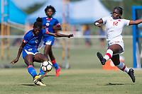Bradenton, FL - Sunday, June 12, 2018: Dougenie Joseph, Teni Akindoju prior to a U-17 Women's Championship 3rd place match between Canada and Haiti at IMG Academy. Canada defeated Haiti 2-1.