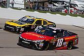 #18: Riley Herbst, Joe Gibbs Racing, Toyota Camry Advance Auto Parts and #42: John Hunter Nemechek, Chip Ganassi Racing, Chevrolet Camaro Chevrolet Accessories