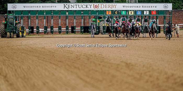 September 1, 2020: Horses break from the brand new 20-horse Kentucky Derby gate for the first time on opening day of Kentucky Derby Week at Churchill Downs in Louisville, Kentucky. Racing was conducted without fans and only essential personnel and limited media due to coronavirus restrictions and protocols. Scott Serio/Eclipse Sportswire/CSM