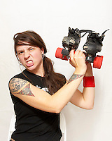 Maude Forbid, of the roller derby team, the Boston Derby Dames. Roller derby is an American contact sport, popular with young women, which combines both athleticism and a satirical punk third-wave feminism aesthetic.