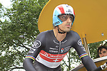 Fabian Cancellara (SUI) Radioshack-Nissan prepares to set off on the Prologue of the 99th edition of the Tour de France 2012, a 6.4km individual time trial starting in Parc d'Avroy, Liege, Belgium. 30th June 2012.<br /> (Photo by Eoin Clarke/NEWSFILE)