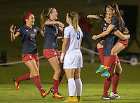 NWA Democrat-Gazette/JASON IVESTER<br /> Arkansas' Jessi Hartzler (from left), Kayla McKeon, Lindsey Mayo and Cailee Dennis celebrate as Memphis' Valerie Sanderson (near) watches on Friday, Nov. 11, 2016, after Mayo's game-winning goal in their NCAA tournament first round game at Razorback Field in Fayetteville.