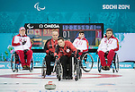 Mark Ideson, Sochi 2014 - Wheelchair Curling // Curling en fauteuil roulant.<br /> Canada takes on Russia during round robin play // Le Canada affronte la Russie lors du tournoi à la ronde. 08/03/2014.