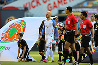 Seattle, WA - Thursday June 16, 2016: United States (USA) and Ecuador (ECU)  prior to a Copa America Centenario quarterfinal match between United States (USA) and Ecuador (ECU) at CenturyLink Field.