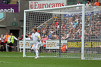 Pictured: Actor Adam Woodyatt from Eastenders, conceding a goal from a penalty kick by Danny Dyer. Sunday, 01 June 2014<br />