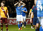 Motherwell v St Johnstone..30.12.15  SPFL  Fir Park, Motherwell<br /> Steven MacLean holds his head after his shot is saved<br /> Picture by Graeme Hart.<br /> Copyright Perthshire Picture Agency<br /> Tel: 01738 623350  Mobile: 07990 594431