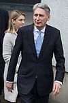 © Joel Goodman - 07973 332324 . 05/03/2017 . London , UK . Chancellor PHILIP HAMMOND leaves ITV studios on South Bank after appearing on the Peston on Sunday show . Photo credit : Joel Goodman