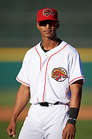Florida Fire Frogs center fielder Ray-Patrick Didder (11) during introductions before a game against the Daytona Tortugas on April 6, 2017 at Osceola County Stadium in Kissimmee, Florida.  Daytona defeated Florida 3-1.  (Mike Janes/Four Seam Images)