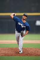 Lakeland Flying Tigers relief pitcher Fernando Perez (28) delivers a pitch during a game against the Dunedin Blue Jays on July 31, 2018 at Dunedin Stadium in Dunedin, Florida.  Dunedin defeated Lakeland 8-0.  (Mike Janes/Four Seam Images)