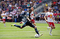 Lionard Pajoy (23) of the Philadelphia Union shoots during the first half against the New York Red Bulls during a Major League Soccer (MLS) match at PPL Park in Chester, PA, on May 13, 2012.