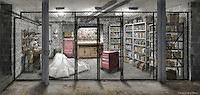 Harry Pfarrer's (George Clooney) basement shop. The draped sheet covers Harry's mechanical sex machine.