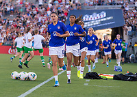 PASADENA, CA - AUGUST 4: Carli Lloyd #10 enters the field during a game between Ireland and USWNT at Rose Bowl on August 3, 2019 in Pasadena, California.