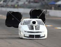 Oct 2, 2020; Madison, Illinois, USA; NHRA mountain motor pro stock driver JR Carr during qualifying for the Midwest Nationals at World Wide Technology Raceway. Mandatory Credit: Mark J. Rebilas-USA TODAY Sports