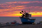 Great Britain, England, Suffolk, Aldeburgh: Fishing boat at dawn