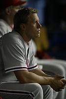 Brandon Duckworth of the Philadelphia Phillies during a 2003 season MLB game at Dodger Stadium in Los Angeles, California. (Larry Goren/Four Seam Images)