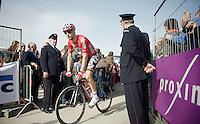 Jurgen Roelandts (BEL/Lotto-Belisol) off to the start<br /> <br /> Gent-Wevelgem 2014