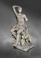 Roman statue of Dionysus. Marble. Perge. 2nd century AD. Inv no . Antalya Archaeology Museum; Turkey.  Against a grey background<br /> <br /> Dionysus  is the god of the grape-harvest, winemaking and wine, of fertility, ritual madness, religious ecstasy, and theatre in ancient Greek religion and myth.