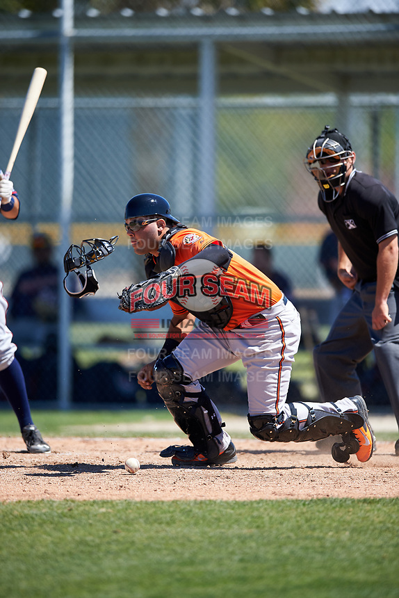 Baltimore Orioles catcher Ronald Soto (61) tracks down a loose ball during a minor league Spring Training game against the Minnesota Twins on March 17, 2017 at the Buck O'Neil Baseball Complex in Sarasota, Florida.  (Mike Janes/Four Seam Images)