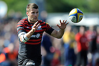 Richard Wigglesworth of Saracens receives a pass during the Aviva Premiership match between Saracens and Worcester Warriors at Allianz Park on Saturday 3rd May 2014 (Photo by Rob Munro)
