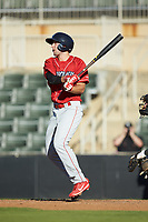 Matt Vierling (46) of the Lakewood BlueClaws follows through on his swing against the Kannapolis Intimidators at Kannapolis Intimidators Stadium on July 8, 2018 in Kannapolis, North Carolina.  The BlueClaws defeated the Intimidators 4-3.  (Brian Westerholt/Four Seam Images)