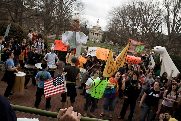 March 19, 2008. Chapel Hill, NC..Hundreds of students marched from the campus of UNC-Chapel Hill to protest the 5th anniversary of the US invasion of Iraq.