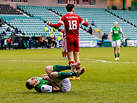 6th February 2021; Easter Road, Edinburgh, Scotland; Scottish Premiership Football, Hibernian versus Aberdeen; Lewis Ferguson of Aberdeen fouls Jamie Murphy of Hibernian in the box and Hibs are awarded a penalty in the 27th minute