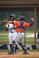 Houston Astros Richard Gonzalez (28) throws the ball back to the pitcher as Victor Padron bats during a minor league Spring Training game against the Detroit Tigers on March 30, 2016 at Tigertown in Lakeland, Florida.  (Mike Janes/Four Seam Images)