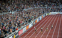 22 AUG 2013 - STOCKHOLM, SWE - Francena McCorory  (third from the left) of the USA leads the field to the finish of the women's 400m during the DN Galen meet of the 2013 Diamond League at the Stockholm Olympic Stadium in Stockholm, Sweden (PHOTO COPYRIGHT © 2013 NIGEL FARROW, ALL RIGHTS RESERVED)(PHOTO COPYRIGHT © 2013 NIGEL FARROW, ALL RIGHTS RESERVED)
