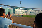 DUBAI,UNITED ARAB EMIRATES-MARCH 29: Pavel,trained by Doug O'Neill,exercises in preparation for the Dubai World Cup,with observed by Leandro Mora (assistant trainer,left) and Mario Gutierrez (jockey,right) at Meydan Racecourse on March 29,2018 in Dubai,United Arab Emirates (Photo by Kaz Ishida/Eclipse Sportswire/Getty Images)