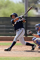 Juan Sanchez of the Milwaukee Brewers plays in a spring training game against the Los Angeles Dodgers at the Brewers complex on April 2, 2011 in Phoenix, Arizona. .Photo by:  Bill Mitchell/Four Seam Images.