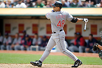 6 April 2008: Indians' #48 Travis Hafner is seen at bat during the Cleveland Indians 2-1 victory over the Oakland Athletics at the McAfee Coliseum in Oakland, CA.