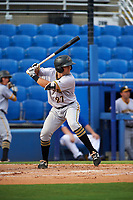 Bradenton Marauders catcher Christian Kelley (27) at bat during a game against the Dunedin Blue Jays on July 17, 2017 at Florida Auto Exchange Stadium in Dunedin, Florida.  Bradenton defeated Dunedin 7-5.  (Mike Janes/Four Seam Images)