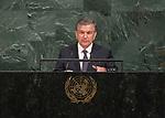 Opening of GA 72 2017 PM<br /> <br /> His Excellency Shavkat Mirziyoyev, President of the Republic of Uzbekistan