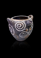 Luxury Minoan Kamares Ware storage poy with swirl olychrome decorations , Phaistos 1900-1700 BC; Heraklion Archaeological  Museum, black background.<br /> <br /> This style of pottery is named afetr Kamares cave where this style of pottery was first found